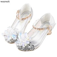 Wholesale shoes children girls flowers for sale - Group buy Weoneit Fashion Kids Flower Girls Shoes for Party and Wedding Children Leather Shoes Dance High Heeled Princess School