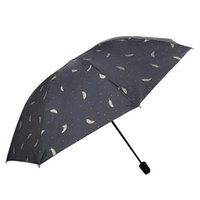 Feather Sun Shade Umbrella Black White Feather Sunny Rainy Umbrella Three Folding Black Coating Vinyl Sunscreen Umbrella BH1394 TQQ