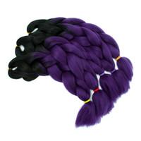 trenzas de dos tonos al por mayor-Dos tonos Jumbo Braid Ombre Trenzado de pelo Fibra de alta temperatura Extensiones de cabello Caja Afro Trenzas Crochet Pelo 500 g / 5 Piezas