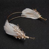 gelin çiçek tüy saç aksesuarları toptan satış-Tiara çiçek Altın Vintage Barok Kafa Şube Düğün Tüy Başlığı Gelin Saç Takı Hairbands Inci Tiara Kadın Boho Aksesuarları