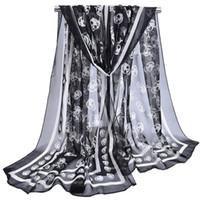 venda del pañuelo blanco al por mayor-Bufandas de moda para las mujeres del verano del otoño del cráneo impreso largo suave bufanda abrigo mantón robó bufandas playa bufanda femenina