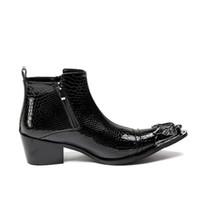 sapatas pretas do tornozelo do negócio venda por atacado-ERRFC preta personalizada Homens de Negócios Lazer High Top Leather Shoes Fashion Designer Python Cobra Padrão Men Ankle Martin Bota