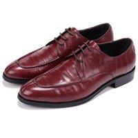 tan formale schuhe großhandel-CLORISRUO Qualität Schwarz / Tan Herren Kleid Schuhe Aus Echtem Leder Business Schuhe Männliche Formale Hochzeit Bräutigam