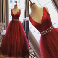 Wholesale wonderful evening dresses for sale - Group buy Wonderful Red Tulle Formal Prom Dresses V Neck A Line Bling Beading Sash Long Evening Dress Custom Made Specail Occasion Gowns