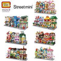 helados de calles al por mayor-28 Estilos LOZ Mini City Street Sala de juegos Comida Restaurante Tienda de helados dulces Tienda Cine Música Artes Juguetes educativos para niños DIY