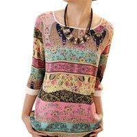 tops aztecas al por mayor-2019 blusa de gasa de verano de moda azteca blusas de las mujeres Tops de encaje con estampado floral O-cuello camisa ocasional Blusas Camisas Mujer