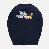 Wholesale sweater men cat for sale – custom 19SS Kith x Tom Jerry LS Cheese Tee Long Sleeve Sweatshirt Cat and Mouse Cartoon Spring Autumn Pullover Sweater Street T shirt HFYMWY242