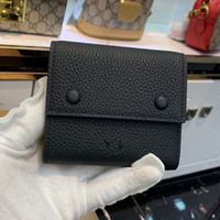 Wholesale tri square resale online - In Leather tri fold wallet female short paragraph toothpick grain cowhide wallet long section of high capacity two fold wallet card bag