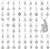 ingrosso desiderando perle-Collana ciondolo perla gabbia amore desiderio perla naturale con collana di perle di ostrica Design moda collana ciondolo cavità clavicola catena pendente 50pc