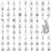 natürliche perlen anhänger großhandel-Perle Käfig Anhänger Halskette Liebes Wunsch Natürliche Perle Mit Oyster Perle Mix Design Mode Hohl Medaillon Schlüsselbein Kette Diffusor Halskette 50 stück