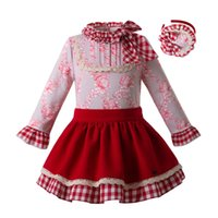 bebekler için kırmızı baş bandları toptan satış-Pettigirl 2019 Yeni Bahar Bebek Kız Giysileri Bebek Kafa Ile Set Çiçek Üstleri + Kırmızı Etekler Parti Çocuklar Giysi Tasarımcısı G-DMCS107-C66