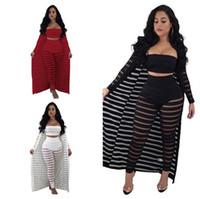 Wholesale women chest pants for sale – dress Plus Size Women Striped Perspective Pieces Sets Strapless Chest wrap Pants Long Sleeve Cloak Hollow Out Outfit Part Club Clothes C3274