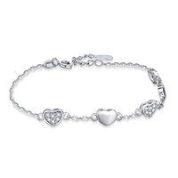 bracelet en acier 925 en argent sterling achat en gros de-Nouveau 5 Bracelet lié pour le coeur pour les femmes Coloré Cristal Autrichien Mode Coeur Chaîne Bracelet Bracelet 925 en argent sterling bijoux cadeau