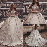 impressão nu 3d venda por atacado-Dubai árabe luxo champanhe vestido de baile vestidos de noiva 3d impressão de renda bordado fora do ombro vestidos de noiva plus size vestido de noiva