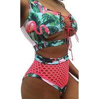 mesh-bademode für frauen großhandel-2019 Frauen Sexy Bikini Set Mesh Badeanzug Hohe Taille Badeanzug Hohl Druck Strand Tragen Top Push Up Verband zweiteilige Badebekleidung