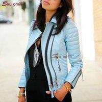 moto jacken frauen groihandel-Blau Rauten-Lederjacke für Frauen-Niet-Punk Moto Mantel Faux Jacke jaquetas couro Casaco chaqueta cuerina mujer