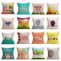 Wholesale cushion foam covered online - 43 cm Easter egg pillow case Easter print letter Linen sofa pillow cushion Bunny Rabbit Square pillow cover Home Textiles AAA1652