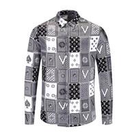 robes décontractées à imprimé léopard achat en gros de-NOUVEAU nouvelle chemise de coton de printemps et d'automne hommes Medusa fleur rétro couleur impression casual chemise Harajuku luxe hommes robe