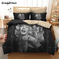 Wholesale marilyn monroe queen size bedding resale online - New Luxury D Marilyn Monroe quilt cover bedding set duvet cover sets pillowcase twin full queen king size