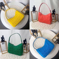 Wholesale half moon bag resale online - Pleated hobo shoulder bag for women Chest pack lady Tote chains handbags presbyopic pleated purse messenger bag handbags canvas