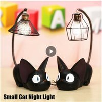 veilleuse pour chambre d'enfant achat en gros de-LED Night Light C reative Résine Chat animal Veilleuse Ornements Décoration Cadeau Petit Chat Nursery Lampe respiration