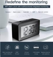 reloj despertador movimiento cámara ir al por mayor-Wifi HD reloj electrónico Cámara 1080P IR visión nocturna reloj despertador Mini cámara Soporte de detección de movimiento DVR de seguridad para el hogar Con calendario