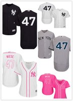 jerseys de mujer al por mayor-2019 Custom New York Men's Women's Yankees 47 Jon Niese Majestic Alternativa Auténtica Flex Base Baseball Jerseys