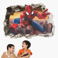 garçons stickers muraux chambres d'enfants achat en gros de-Ville héros Spiderman Break mur enfants garçons chambres sticker mural autocollant décor à la maison chidlren jouet cadeaux pépinière film spider-man affiche