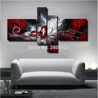 pinturas abstratas preto vermelho venda por atacado-Pintados à mão pintura a óleo abstrata vermelho preto branco lona arte da parede vermelho preto retrato da parede pinturas modulares para sala de estar