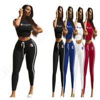 Wholesale yoga pants suit online - Women Tracksuit Champion Letter Print Short Sleeve crop top T shirt Pants Set Summer Causal Sports Suit Yoga outfit Sportswear C3203