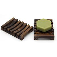 caixas de madeira natural venda por atacado-Moda Criativo Soap Box Venda Quente Saboneteira De Madeira Natural Quadro sem tampa Simples Soap Frame New Retro Soapbox T9I0040