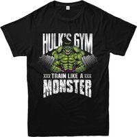 ingrosso migliori camicie maschili-Hulk T-Shirt, Train Hard Hulk's Gym T-Shirt InspiRed Design Top girocollo Best Selling maschio Natural Cotton Shirt
