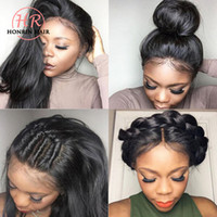 Wholesale human hair large wigs black for sale - Group buy Honrin Hair Silky Straight Brazilian Virgin Human Hair Full Lace Wig Pre Plucked With Baby Hair Density Lace Front Wig Bleached Knots
