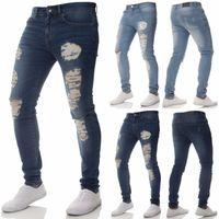 trendige jeanshose großhandel-Trendy Herren Super Skinny Ripped Hole Biker Denim Jeans Blau Schwarz Sommer Mode Schnurrbart Effekt Hip Hop Hosen Hosen