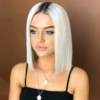 steigung haar großhandel-2019 New Short Hair Gradient Perücke Schwarz Weiß Design Gute Qualität Durable Hitzebeständige Kunstfaser Gefärbt Glattes Haar Perücke Kopfbedeckung