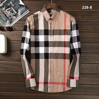 camisas a cuadros para hombre largas al por mayor-Nueva moda para hombres Camisas para hombres Ropa Slim Fit Cuadros Diseñador de negocios Camisa Summer Homme Mens Lattice Camisas Blusa de manga larga Tops # D086
