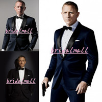 roupas de noivo venda por atacado-007 James Bond Azul Escuro Do Noivo Smoking Ternos Dos Homens Namorado Blazer Noivo Melhor Homem Roupas de Escritório Formal Casamento Tux (Jacket + Calça + Gravata)