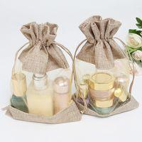 sacos cosméticos de linho venda por atacado-10x14 cm two-sided janela de linho bag Jóias cosméticos bundle boca armazenamento cordão saco de doces de casamento presente 50pc
