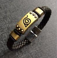 konoha cosplay naruto großhandel-DHL Naruto Konoha Dorf Emblem Armband | manga Schmuck-Armband-Stulpe-Armband Cosplay Prop Schmuck Zubehör