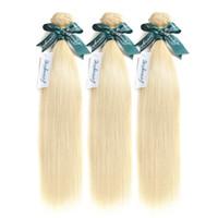 Wholesale blonde brazilian hair weave bundles resale online - Blonde Straight Human Hair Color Hair Weave Bundles Remy Brazilian Hair Blonde Bundles