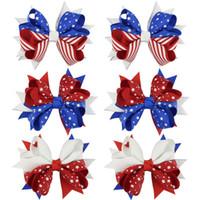 ingrosso bandiera americana ragazza moda-Bambini bandiera americana stampa Barrettes Moda bambini 4 luglio Bow Clip di capelli Cute Girl Swallowtail forcine Accessori per capelli TTA1021