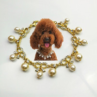 Wholesale cat dog collars bling resale online - Dog Pearl Necklace Jewelry Cat Dog Collar Bling Pet Necklace for Small Cats Dogs Chihuahua Accessories Jeweled Crystal Pearl