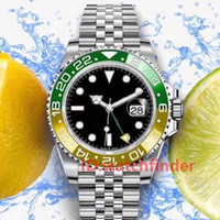 relógio de aço inoxidável resistente a água azul venda por atacado-New Rose ouro Verde Luxo Resistente À Água Basileia Azul Aço Inoxidável GMT Mens Automático homens Assista Relógios de pulso relógios de moda homem