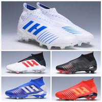 2019 Nuevo Predator 19 19.1 Pogba Hombres Mujeres Jóvenes FG Botas de fútbol Virtuso Rojo Negro Niños Tacos de fútbol Tobillo alto Zapatos Chaussures