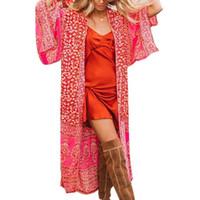 cardigan vermelho aberto venda por atacado-Mulheres Casual Longo Floral luva frouxo Red Chiffon Cardigan praia abaixo do joelho tampa Verão Open Up