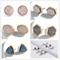 mini brinco de ouro venda por atacado-6 estilos banhado a ouro Kendra estilo scott mini druzy drusy brincos de pedra do falso druzy brincos para mulheres jóias