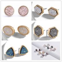 drusy oro al por mayor-6 estilos chapado en oro estilo Kendra scott mini druzy drusy pendientes de imitación piedra druzy pendientes para joyería de las mujeres