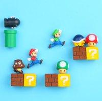 aimants pvc achat en gros de-Super Mario Bros Réfrigérateur Aimants Réfrigérateur Message Autocollant Micro Action Figure Mini PVC Enfants Enfants Jouets réfrigérateur aimant KKA6835