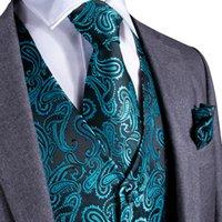 Wholesale vest tie set resale online - Fast Shipping Men s Classic Green Solid Paisley Silk Jacquard Waistcoat Vest Handkerchief Cufflinks Party Wedding Tie Vest Suit Set MJ