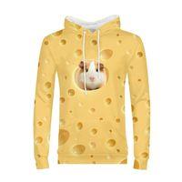 kawaii do rato venda por atacado-Homens Hoodies Moda Designer De Luxo Camisola Kawaii Animais Rato Hamster Queijo 3D Impressão Pullover Mangas Compridas Roupas